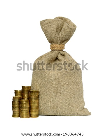 Money bag and coins isolated on a white background. - stock photo