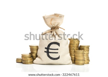 Money bag and Euro coins, isolated on white background - stock photo