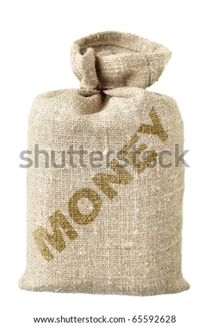 Money-bag close-up isolated over the white background - stock photo