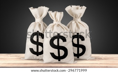 Money Bag, Currency, Paper Currency. - stock photo