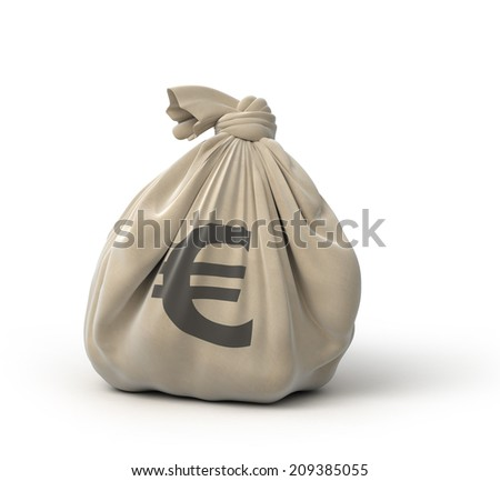 money bag euro, isolated on white - stock photo