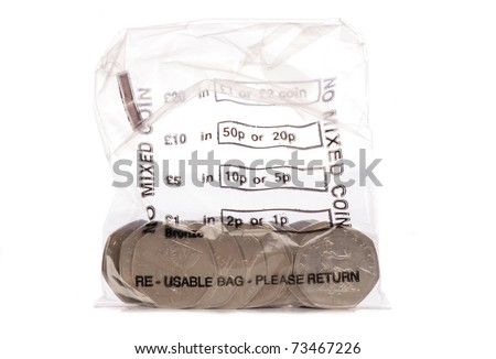 Money bag of sterling fifty pence coins studio cutout - stock photo