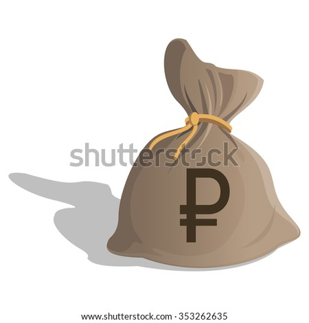 Money bag or sack cartoon style icon with Ruble sign isolated on white background. Russian Currency symbol. illustration - stock photo