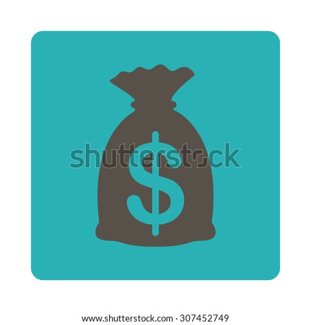 Money Bag raster icon. This flat rounded square button uses grey and cyan colors and isolated on a white background. - stock photo
