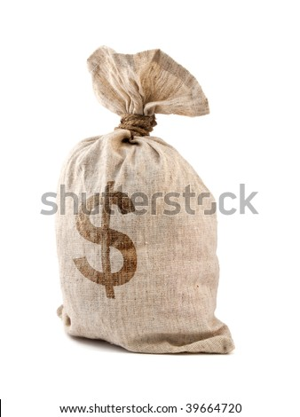 Money Bag with Dollar symbol, isolated on white. - stock photo