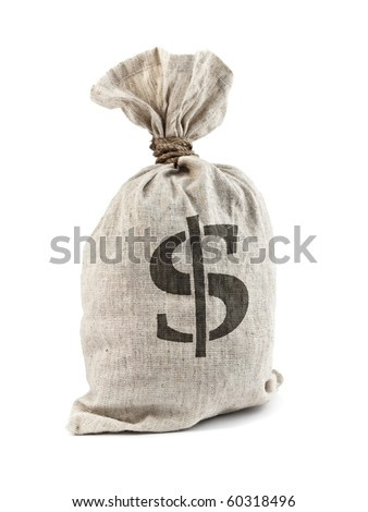 Money Bag with Dollar symbol, isolated on white - stock photo