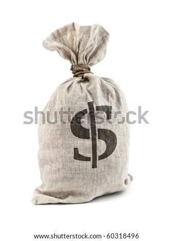 Money Bag with Dollar symbol, isolated on white - stock photo