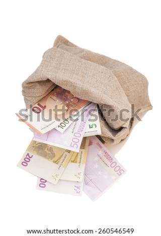 Money bag with euro isolated on white background - stock photo