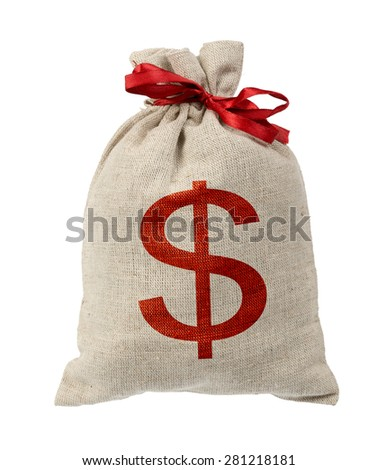 Money bag with red band on isolated white background - stock photo