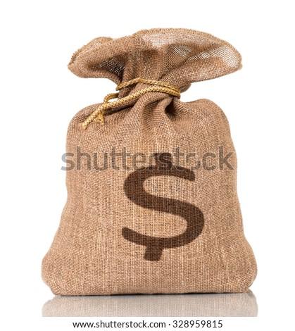 Money bag with US dollar sign, isolated on white background - stock photo