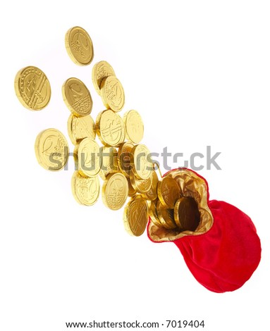 money bags with coins on a white background - stock photo