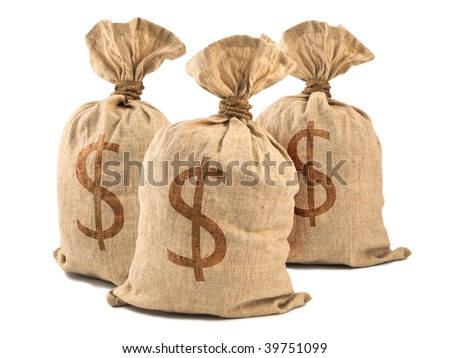 Money Bags with Dollar symbol, isolated on white. - stock photo