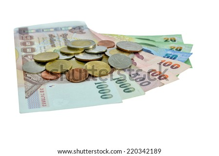 money bank note and coin isolate on white background