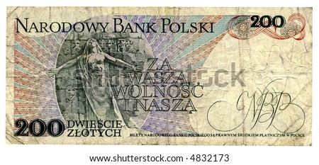 Money.Banknote - 200 zloty,1988 year.Poland.