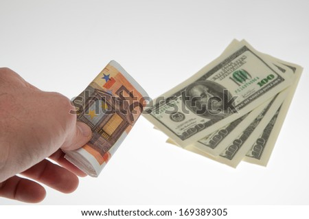 Money. banknotes in hand to exchange currency and payment