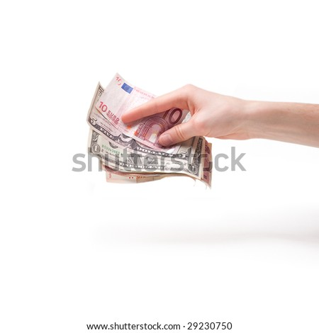 money banknotes in male hands isolated