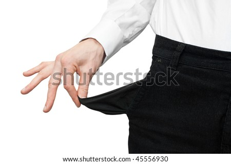 money bankrupt. man's hand with empty pocket