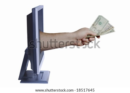Money being passed through a computer monitor.