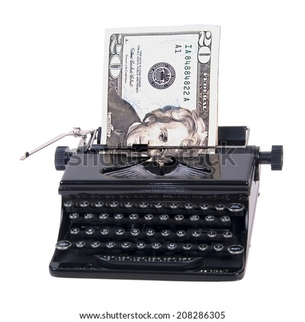 Money being typed out in a manual typewriter - path included - stock photo