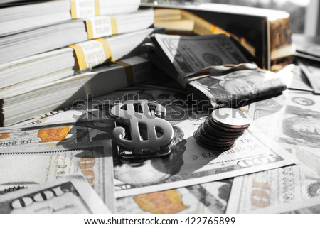 Money Black & White with Gold Stock Photo High Quality - stock photo