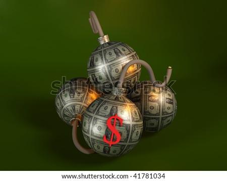 Money bombs - Financial Crisis - stock photo