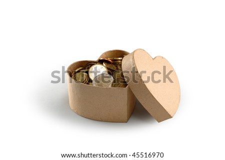 money box, heart and love
