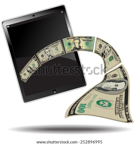 Money Breaks out of a Computer Tablet Toward the Viewer  - stock photo