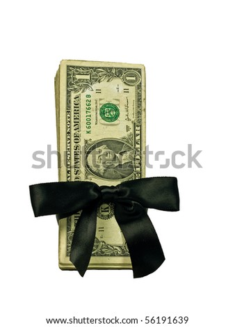 Money Bundle in a Black Ribbon $1 Bills - stock photo