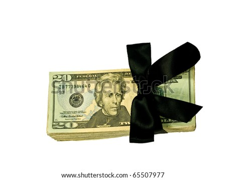 Money Bundle in a Black Ribbon $20 Bills - stock photo