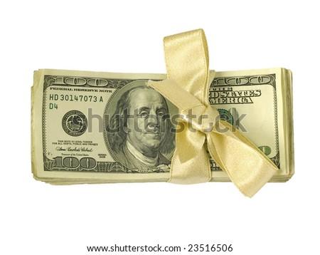 Money Bundles n Gold Ribbon - stock photo
