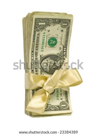 Money Bundles with Ribbon $1 - stock photo