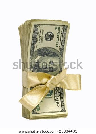 Money Bundles with Ribbon $100 - stock photo