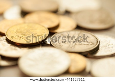 Money, Business diagram on financial report with coins.