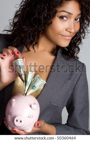 Money Businesswoman - stock photo