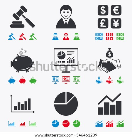 Money, cash and finance icons. Handshake, piggy bank and currency exchange signs. Chart, auction and businessman symbols. Flat black, red, blue and green icons. - stock photo