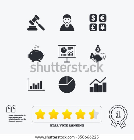 Money, cash and finance icons. Handshake, piggy bank and currency exchange signs. Chart, auction and businessman symbols. Star vote ranking. Award achievement and quotes. - stock photo