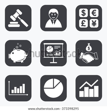 Money, cash and finance icons. Handshake, piggy bank and currency exchange signs. Chart, auction and businessman symbols. Flat square buttons with rounded corners. - stock photo