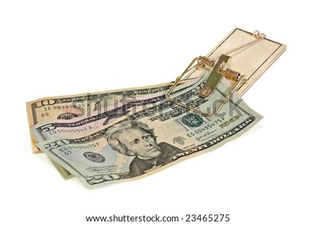 Money caught in a mouse trap on a white background - stock photo