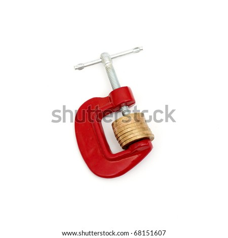Money clamped in the clamp on a white background. isolated - stock photo