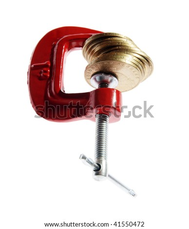 Money clamped in the clamp on the white background. (isolated) - stock photo