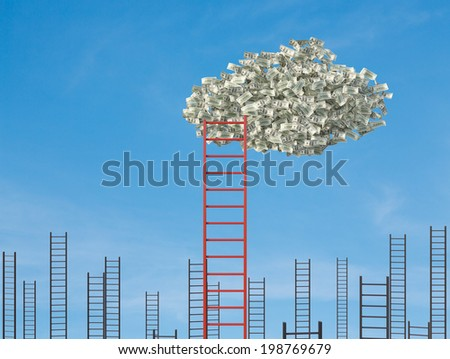 Money cloud and ladders.  - stock photo