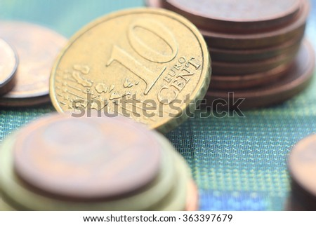 Money coins close up