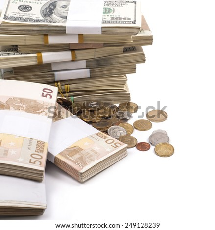 Money. Coins.  Euro. Stacks. Dollars on a white background - stock photo