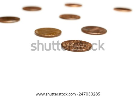 Money, Coins on White Background