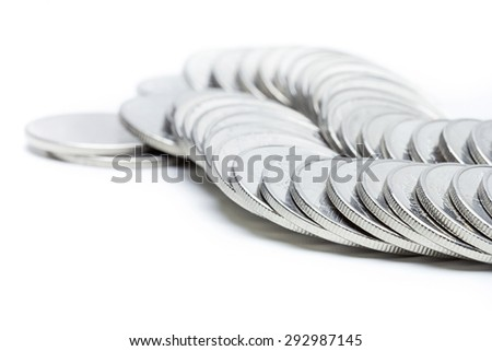 Money coins pile isolate on white background,saving and business growth concept