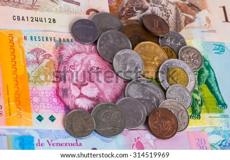 money colorful images of animals, exotic countries, background - stock photo