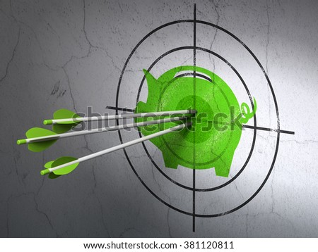 Money concept: arrows in Money Box target on wall background
