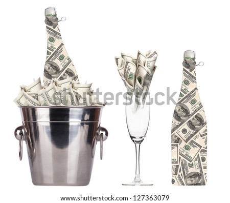 money concept. champagne set isolated - stock photo