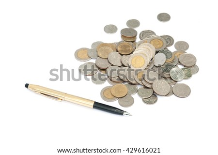 money concept coins and pen on isolated,white background - stock photo