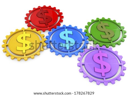 Money concept 3d icon with five gears and dollar colored sign, business or economy metaphor, - stock photo